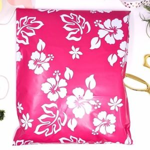 20 10x13 pink aloha design poly mailers